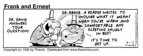 Comic Strip Bob Thaves Tom Thaves  Frank and Ernest 1995-04-19 bedroom