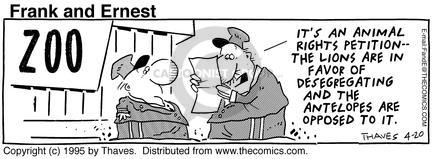 Comic Strip Bob Thaves Tom Thaves  Frank and Ernest 1995-04-20 segregation