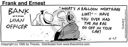 Comic Strip Bob Thaves Tom Thaves  Frank and Ernest 1995-04-27 cash
