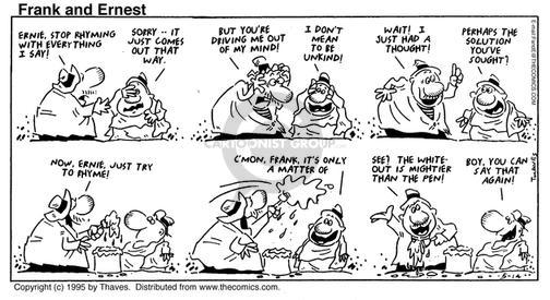 Comic Strip Bob Thaves Tom Thaves  Frank and Ernest 1995-05-14 syntax