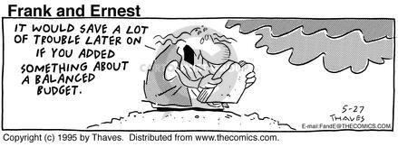 Comic Strip Bob Thaves Tom Thaves  Frank and Ernest 1995-05-27 deficit