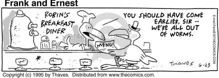 Comic Strip Bob Thaves Tom Thaves  Frank and Ernest 1995-06-23 first meal