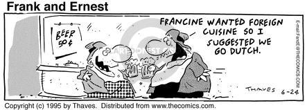 Comic Strip Bob Thaves Tom Thaves  Frank and Ernest 1995-06-24 eat