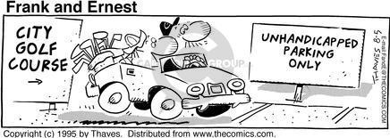 Comic Strip Bob Thaves Tom Thaves  Frank and Ernest 1995-08-05 car park