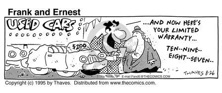 Comic Strip Bob Thaves Tom Thaves  Frank and Ernest 1995-08-26 benefit