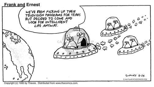 Cartoonist Bob Thaves Tom Thaves  Frank and Ernest 1995-09-24 intelligent life