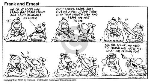 Comic Strip Bob Thaves Tom Thaves  Frank and Ernest 1995-11-05 fright