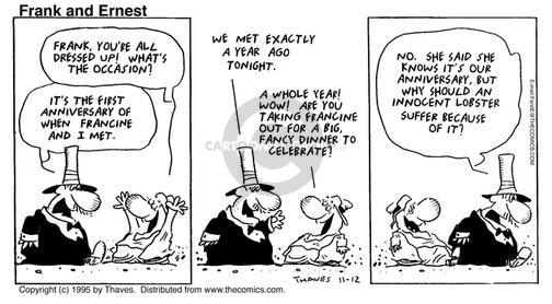 Cartoonist Bob Thaves Tom Thaves  Frank and Ernest 1995-11-12 dress up