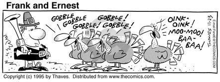 Comic Strip Bob Thaves Tom Thaves  Frank and Ernest 1995-11-23 feast