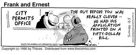 Comic Strip Bob Thaves Tom Thaves  Frank and Ernest 1995-12-05 print money