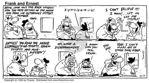 Comic Strip Bob Thaves Tom Thaves  Frank and Ernest 1995-12-17 win