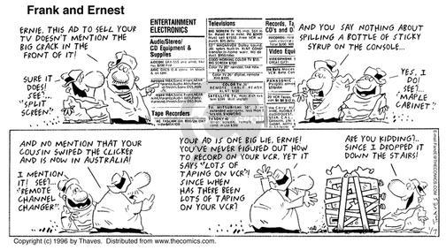 Comic Strip Bob Thaves Tom Thaves  Frank and Ernest 1996-01-07 television cartoon