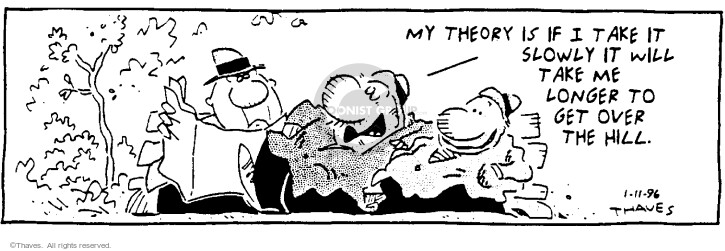 Comic Strip Bob Thaves Tom Thaves  Frank and Ernest 1996-01-11 over the hill