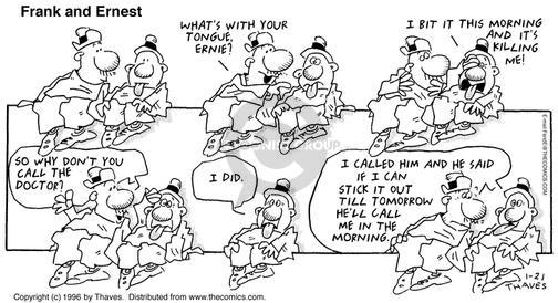 Cartoonist Bob Thaves Tom Thaves  Frank and Ernest 1996-01-21 wrong time