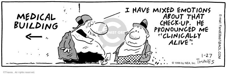 Cartoonist Bob Thaves Tom Thaves  Frank and Ernest 1996-01-27 medical