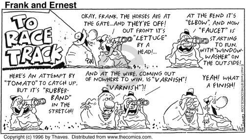 Comic Strip Bob Thaves Tom Thaves  Frank and Ernest 1996-01-28 yeah