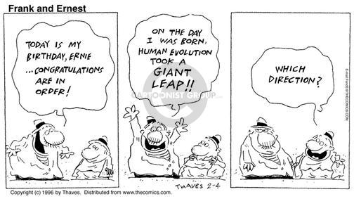Cartoonist Bob Thaves Tom Thaves  Frank and Ernest 1996-02-04 biology