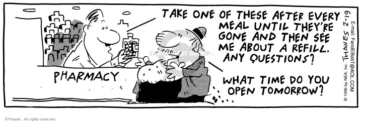 Cartoonist Bob Thaves Tom Thaves  Frank and Ernest 1996-02-19 medical