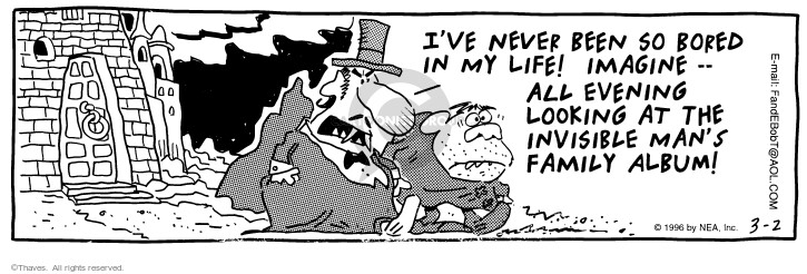 Comic Strip Bob Thaves Tom Thaves  Frank and Ernest 1996-03-02 fright