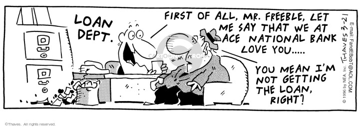 Comic Strip Bob Thaves Tom Thaves  Frank and Ernest 1996-03-21 cashier