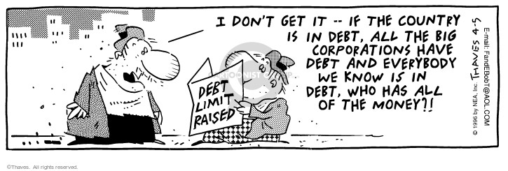 Comic Strip Bob Thaves Tom Thaves  Frank and Ernest 1996-04-05 deficit