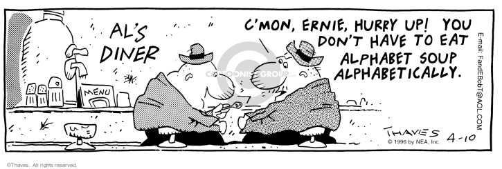 Comic Strip Bob Thaves Tom Thaves  Frank and Ernest 1996-04-10 process