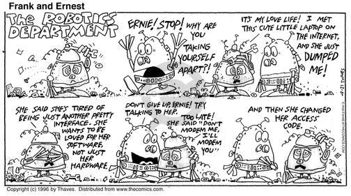 Comic Strip Bob Thaves Tom Thaves  Frank and Ernest 1996-04-21 personal life
