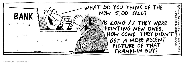 Comic Strip Bob Thaves Tom Thaves  Frank and Ernest 1996-04-29 cashier