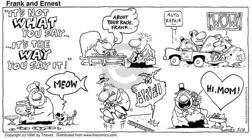 Comic Strip Bob Thaves Tom Thaves  Frank and Ernest 1996-05-12 sign