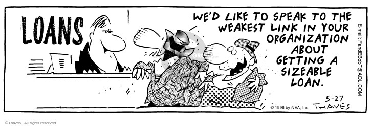 Comic Strip Bob Thaves Tom Thaves  Frank and Ernest 1996-05-27 cashier