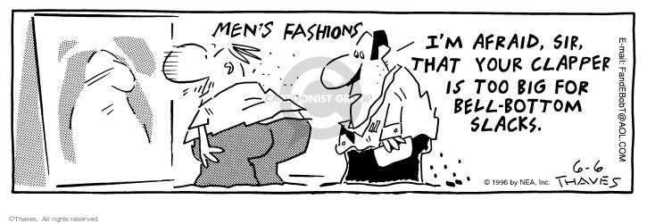 Comic Strip Bob Thaves Tom Thaves  Frank and Ernest 1996-06-06 clothes shopping