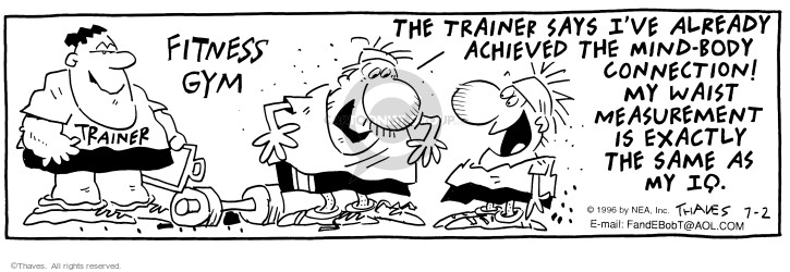 Comic Strip Bob Thaves Tom Thaves  Frank and Ernest 1996-07-02 physical fitness
