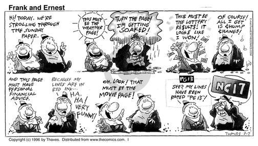 Comic Strip Bob Thaves Tom Thaves  Frank and Ernest 1996-07-07 movie rating