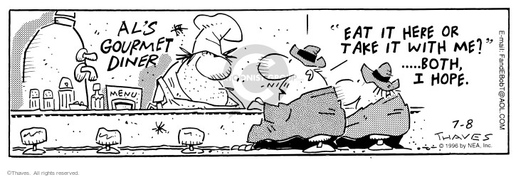 Cartoonist Bob Thaves Tom Thaves  Frank and Ernest 1996-07-08 counter