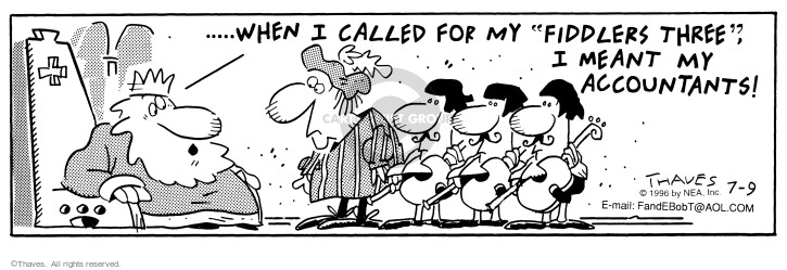 Comic Strip Bob Thaves Tom Thaves  Frank and Ernest 1996-07-09 throne