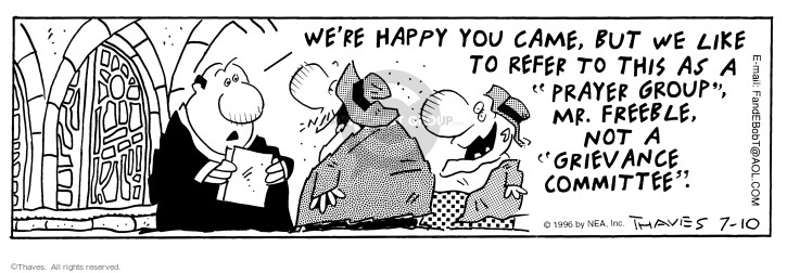Comic Strip Bob Thaves Tom Thaves  Frank and Ernest 1996-07-10 congregation
