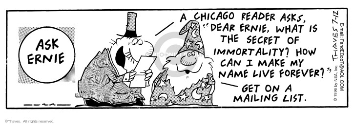 Cartoonist Bob Thaves Tom Thaves  Frank and Ernest 1996-07-12 magician