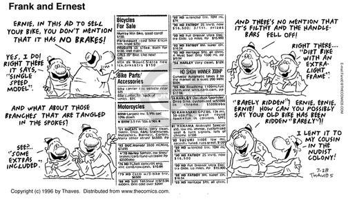 Comic Strip Bob Thaves Tom Thaves  Frank and Ernest 1996-07-28 sale