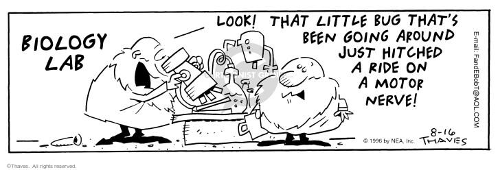 Cartoonist Bob Thaves Tom Thaves  Frank and Ernest 1996-08-16 biologist