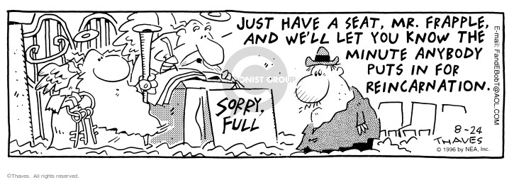 Comic Strip Bob Thaves Tom Thaves  Frank and Ernest 1996-08-24 afterlife