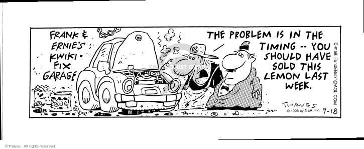 Comic Strip Bob Thaves Tom Thaves  Frank and Ernest 1996-09-18 car repair shop