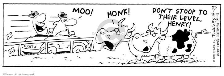 Cartoonist Bob Thaves Tom Thaves  Frank and Ernest 1996-09-23 pasture