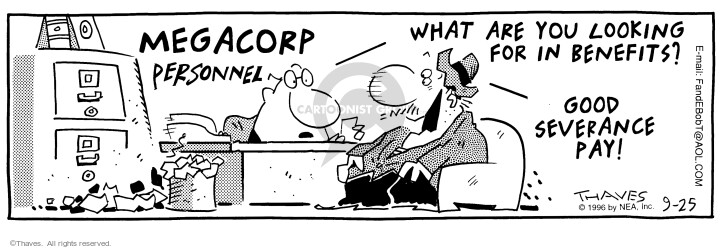 Comic Strip Bob Thaves Tom Thaves  Frank and Ernest 1996-09-25 megacorp