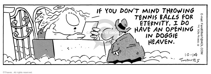 Comic Strip Bob Thaves Tom Thaves  Frank and Ernest 1996-10-14 afterlife