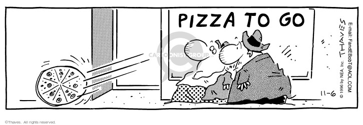 Comic Strip Bob Thaves Tom Thaves  Frank and Ernest 1996-11-06 pizza delivery