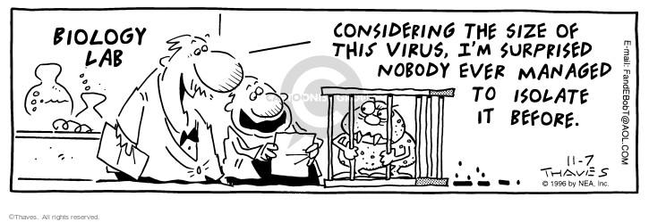 Comic Strip Bob Thaves Tom Thaves  Frank and Ernest 1996-11-07 virus