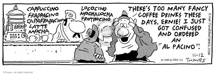Cartoonist Bob Thaves Tom Thaves  Frank and Ernest 1996-11-12 counter