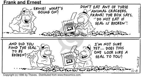 Comic Strip Bob Thaves Tom Thaves  Frank and Ernest 1996-12-08 seal