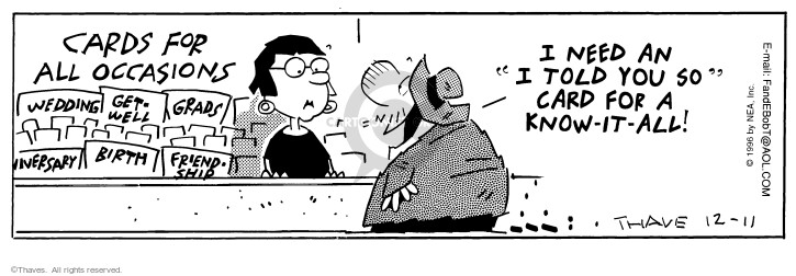Comic Strip Bob Thaves Tom Thaves  Frank and Ernest 1996-12-11 cashier