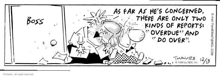 Comic Strip Bob Thaves Tom Thaves  Frank and Ernest 1996-12-13 overdue